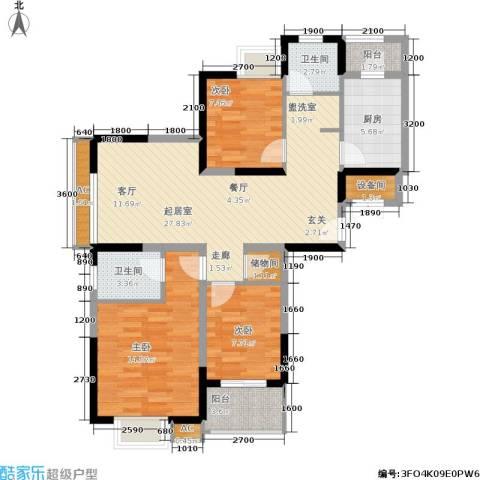 东渡国际青年城3室0厅2卫1厨112.00㎡户型图