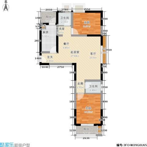 东渡国际青年城2室0厅2卫1厨75.00㎡户型图