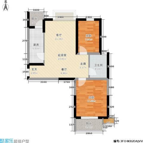 东渡国际青年城2室0厅1卫1厨83.00㎡户型图