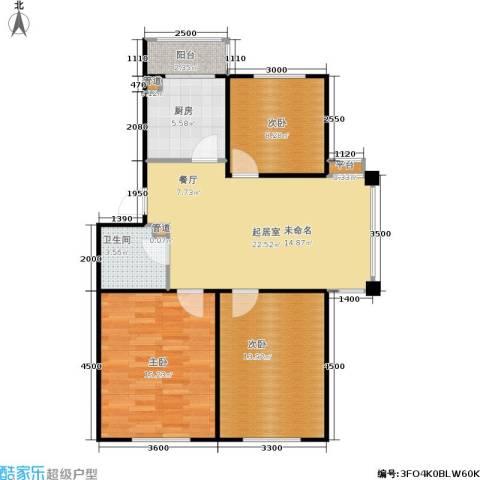 恒运雅居3室0厅1卫1厨91.00㎡户型图