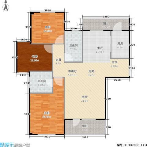 豪森茗家3室1厅2卫1厨139.00㎡户型图