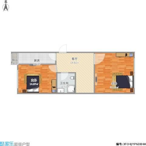 明和里2室1厅1卫1厨82.00㎡户型图