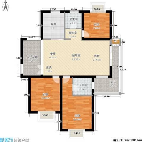 中南・麒麟锦城3室0厅2卫1厨102.00㎡户型图
