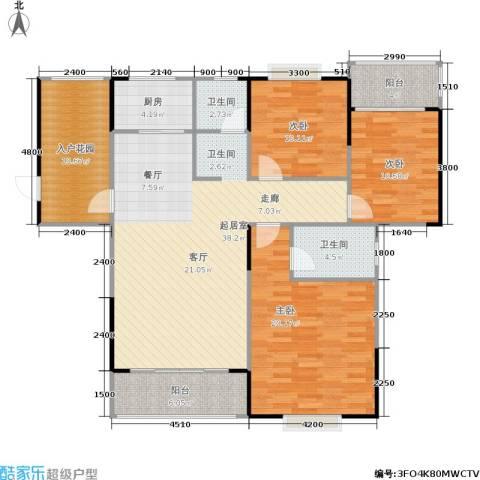 瑞凯・景城苑3室0厅2卫1厨150.00㎡户型图