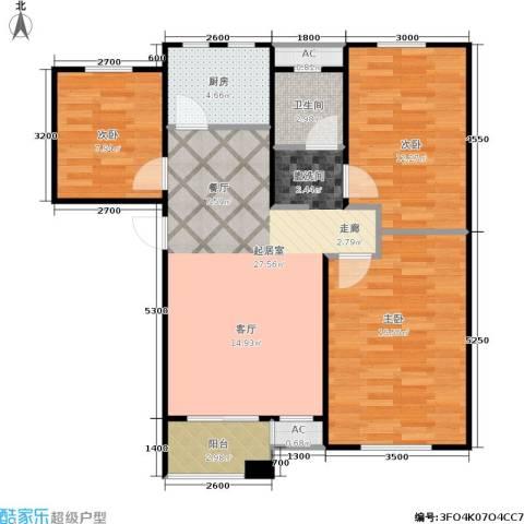 阳光洛可可3室0厅1卫1厨104.00㎡户型图