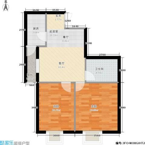 嘉润东方香榭里2室0厅1卫1厨78.00㎡户型图