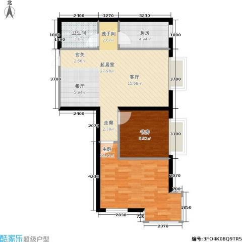 嘉润东方香榭里2室0厅1卫1厨90.00㎡户型图