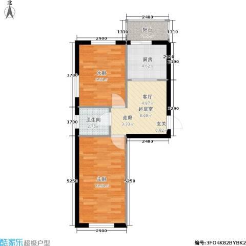 摩卡小筑2室0厅1卫1厨49.00㎡户型图