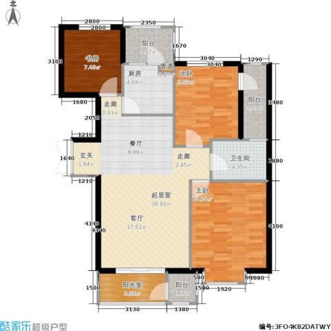 嘉润东方香榭里3室0厅1卫1厨118.00㎡户型图