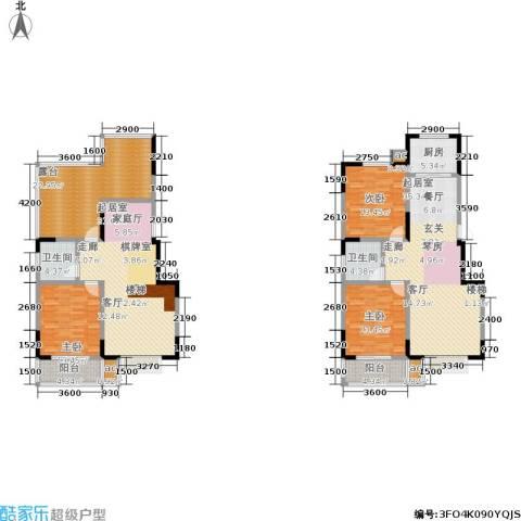 军蔷苑3室0厅2卫1厨174.00㎡户型图