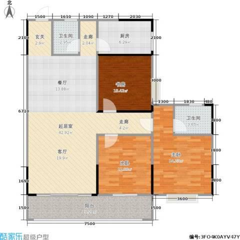 瑞凯・景城苑3室0厅2卫1厨137.00㎡户型图