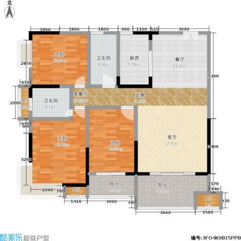 西点公园里3室1厅2卫1厨144.00㎡户型图