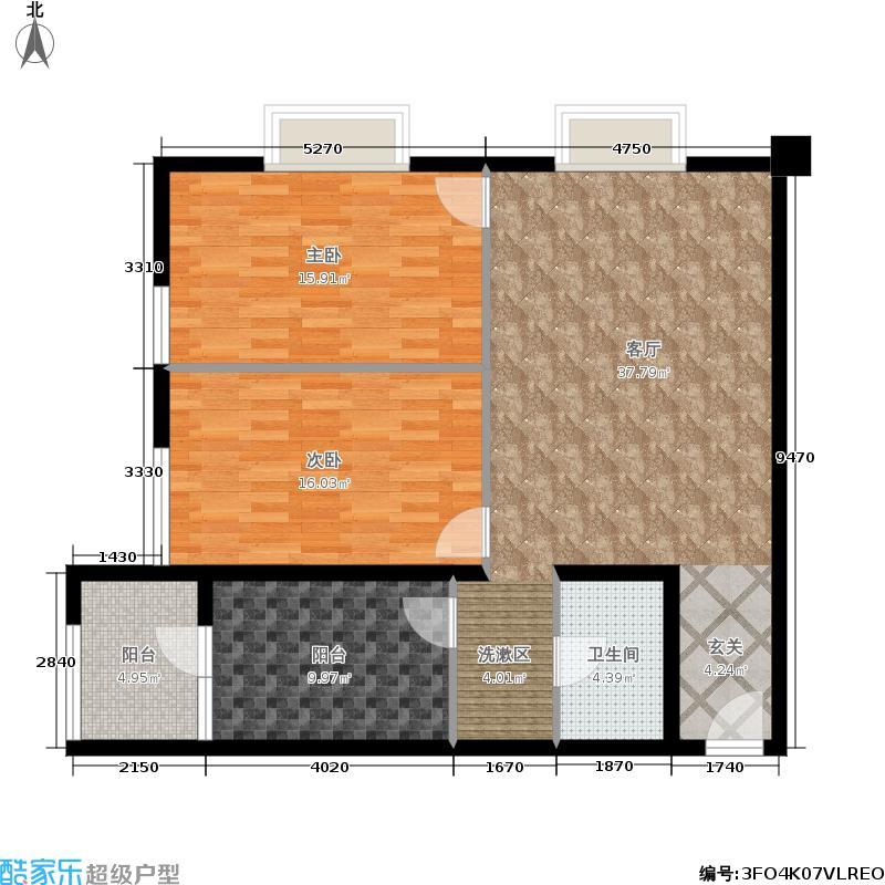 鑫苑国际广场户型2室1厅1卫