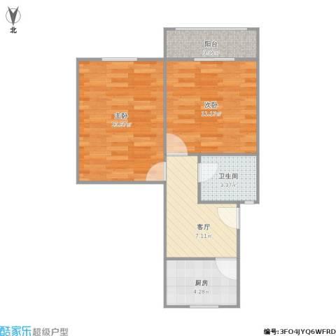 梅陇十一村2室1厅1卫1厨58.00㎡户型图