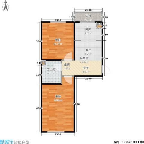 恒运雅居2室0厅1卫1厨62.00㎡户型图
