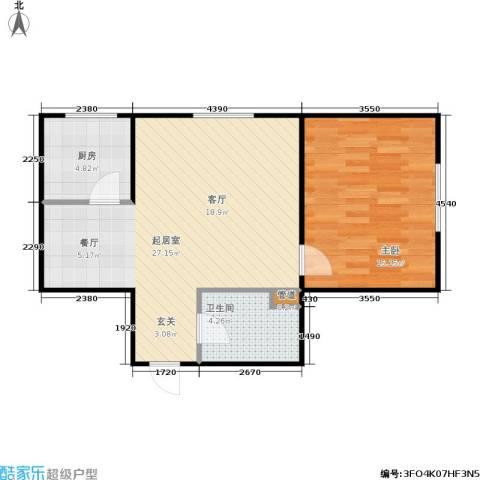 宏伟茗都三期1室0厅1卫1厨51.58㎡户型图