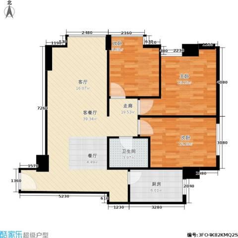 滨东康城3室1厅1卫1厨105.00㎡户型图