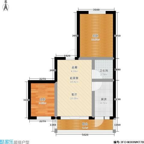 穆家新区2室0厅1卫1厨63.00㎡户型图