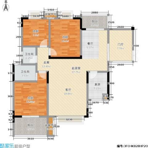 鑫远・湘府东苑 鑫远a派3室0厅2卫1厨124.00㎡户型图