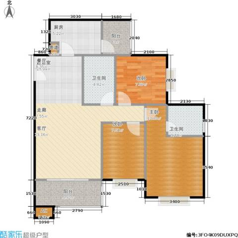 长帆凯莱阳光3室0厅2卫1厨84.00㎡户型图