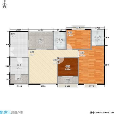 长帆凯莱阳光3室0厅2卫1厨92.00㎡户型图