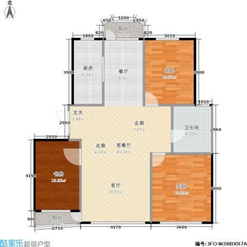 运达嘉洲阳光3室1厅1卫1厨134.00㎡户型图