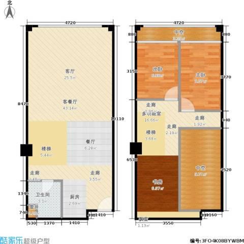 名城国际公馆2室1厅1卫0厨91.18㎡户型图