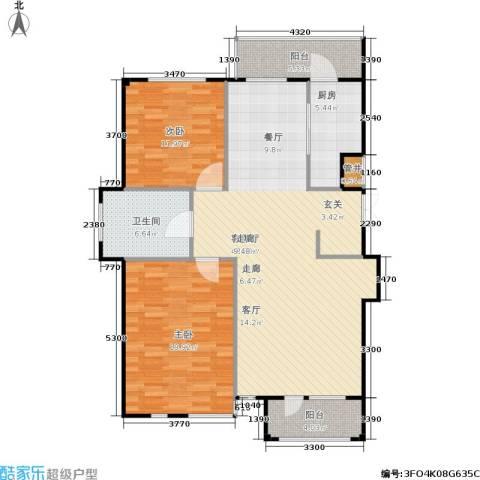 豪森茗家2室1厅1卫1厨103.00㎡户型图