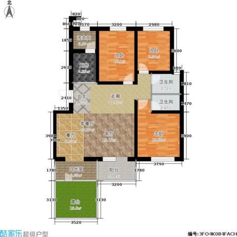 金汇雅居3室1厅2卫1厨122.00㎡户型图
