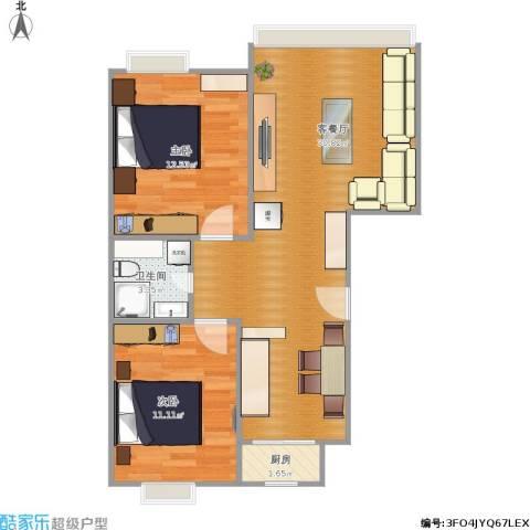 运河明珠家园2室1厅1卫1厨80.00㎡户型图