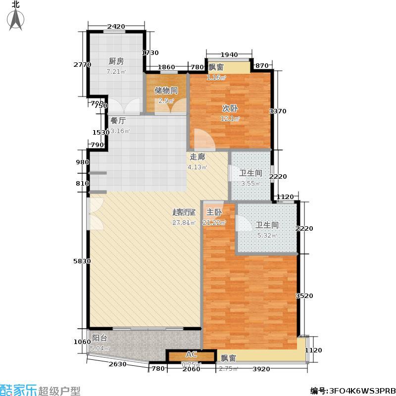 大上海国际花园二期房型户型2室2卫1厨