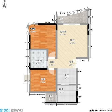 渝安龙都20052室0厅1卫1厨64.00㎡户型图