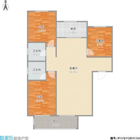 裕馨城二期3室1厅2卫1厨131.00㎡户型图