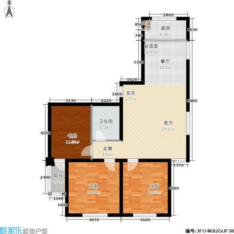 金色华庭3室0厅1卫1厨102.00㎡户型图