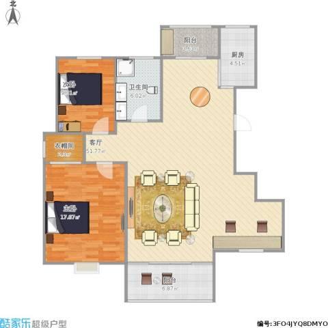 姚江上上城2室1厅1卫1厨136.00㎡户型图