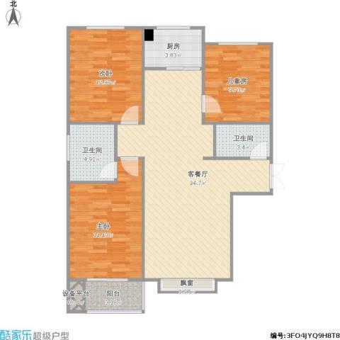 裕馨城二期3室1厅2卫1厨121.00㎡户型图
