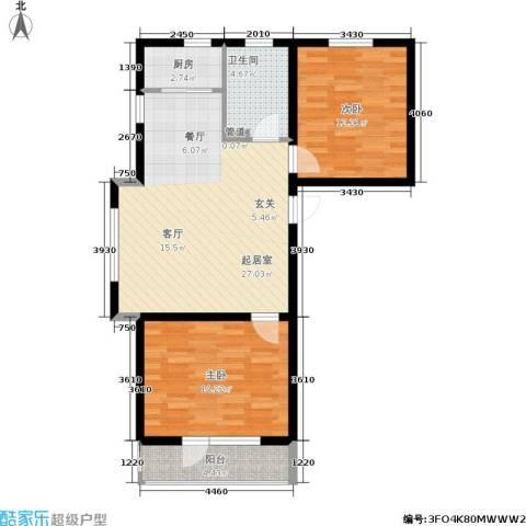 金色华庭2室0厅1卫1厨74.00㎡户型图