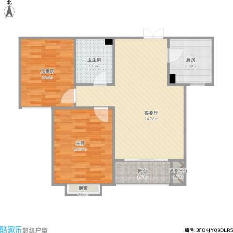 裕馨城二期2室1厅1卫1厨87.00㎡户型图