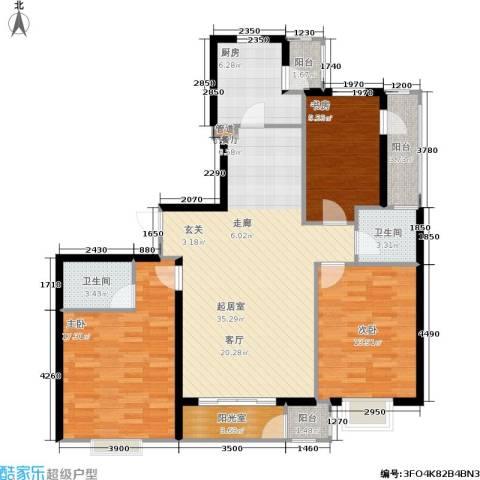 嘉润东方香榭里3室0厅2卫1厨140.00㎡户型图