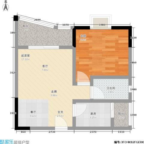 渝安龙都20051室0厅1卫1厨45.00㎡户型图