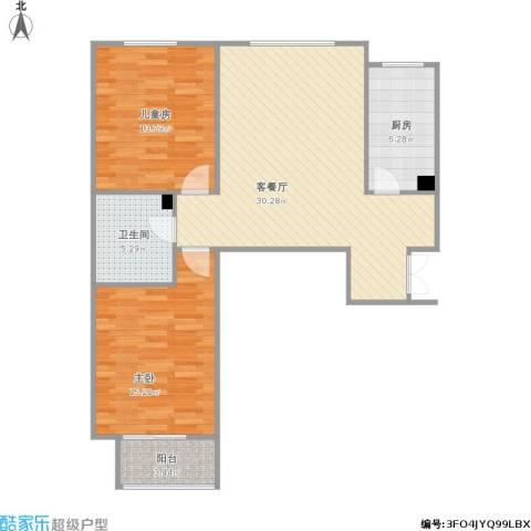 裕馨城二期2室1厅1卫1厨100.00㎡户型图