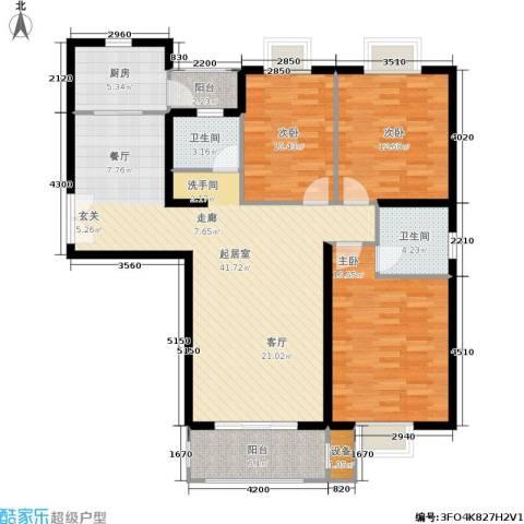 云河湾花园3室0厅2卫1厨117.00㎡户型图
