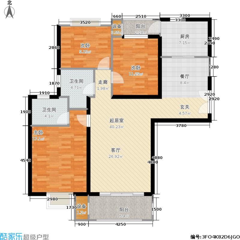 云河湾花园户型3室2卫1厨