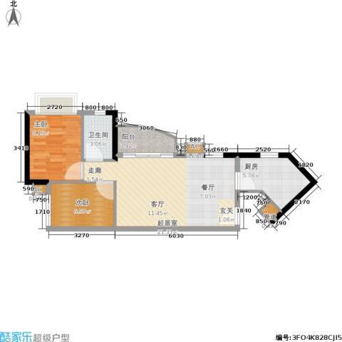 金碧世纪花园2室0厅1卫1厨68.00㎡户型图