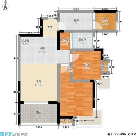 潇湘上院 英祥苑2室0厅1卫1厨84.00㎡户型图
