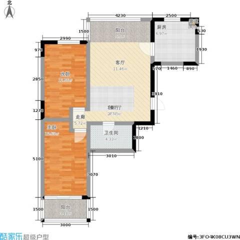 橄榄城2室1厅1卫1厨97.00㎡户型图