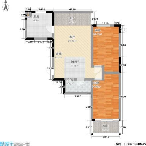 橄榄城2室1厅1卫1厨99.00㎡户型图
