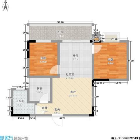 马王新苑・易家2室0厅1卫1厨61.00㎡户型图