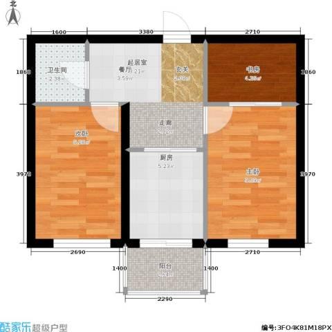 摩卡小筑3室0厅1卫1厨49.00㎡户型图