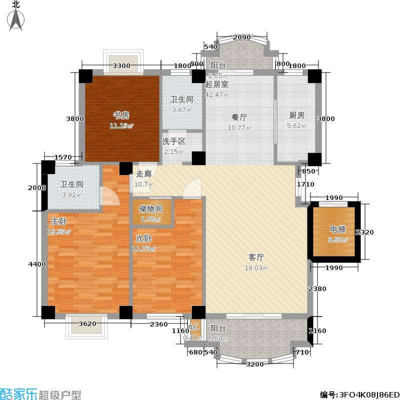 明发滨江新城户型3室2卫1厨